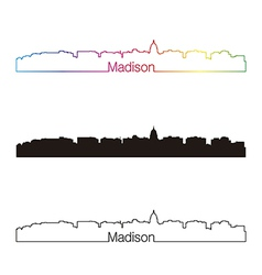 Madison skyline linear style with rainbow vector image