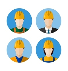 Set of builders avatars vector image