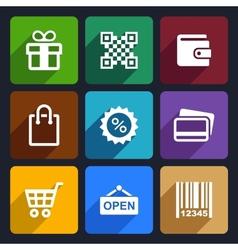 Shopping Flat Icons Set 35 vector image vector image