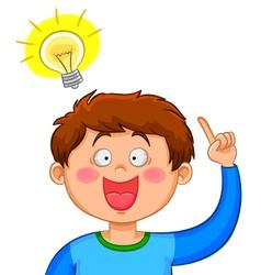 boy with an idea vector image vector image