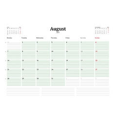 Calendar template for 2017 year august business vector