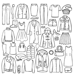 Hand drawn doodle set with woman clothes vector image