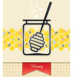 jar with honey and spoon vector image vector image