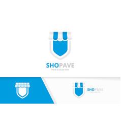 store and shield logo combination market vector image vector image