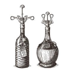 bottle of wine logo design template vector image vector image