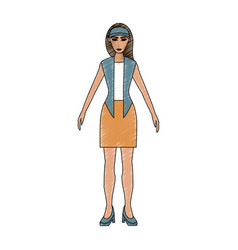 Color pencil cartoon full body woman with jacket vector