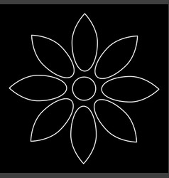 flower white color path icon vector image vector image