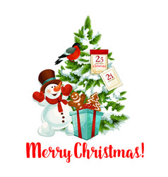 merry christmas tree decoration icon vector image vector image