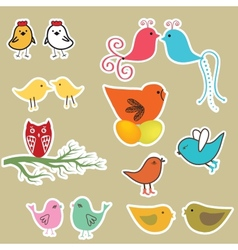 Set of valentines cards with birds vector image