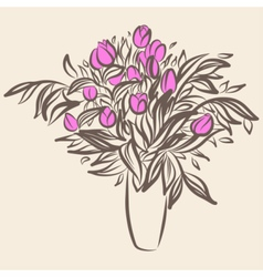 Tulips in vase Sketch drawing in vintage style vector image vector image
