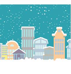 winter christmas city buildings in snow snowfall vector image