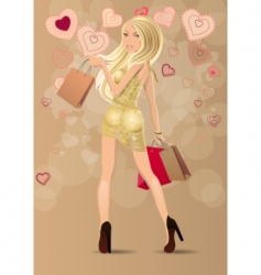 woman carrying bags vector image vector image