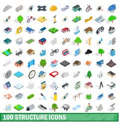 100 structure icons set isometric 3d style vector
