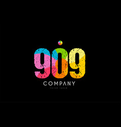 909 number grunge color rainbow numeral digit logo vector image