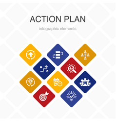 Action plan infographic 10 option color design vector