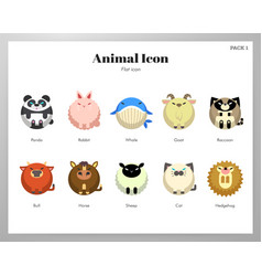 Animal icon flat pack vector