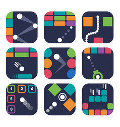 App icon templates for trendy mobile game vector