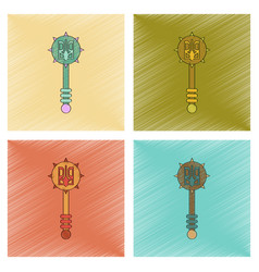 Assembly flat shading style icon ukrainian mace vector