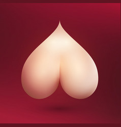 bare naked bum in shape of heart on burgundy vector image