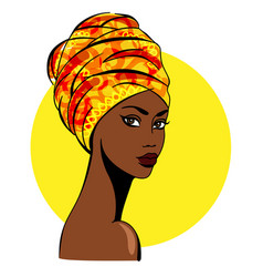 beautiful african woman on yellow background vector image