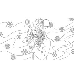 Beautiful girl drinks coffee vector