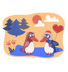 bird love valentine day cartoon animal set vector image
