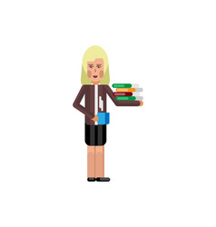 blonde secretary with business documents vector image