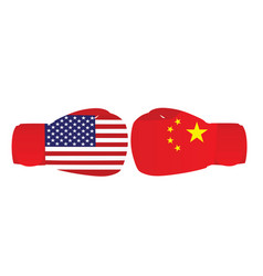 boxing gloves with usa and china flags vector image