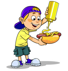 Boy with hotdog vector