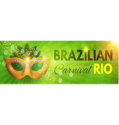 brazil carnival flyer template with mask hot vector image