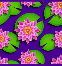 bright seamless pattern with pink lotus and leaf vector image