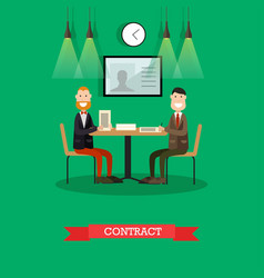 Business contract in flat vector