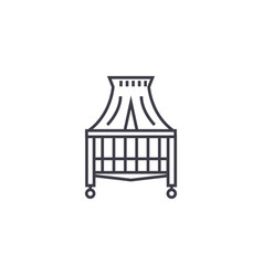 canopy bed line icon sign on vector image