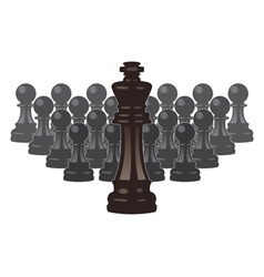 chess pieces of a king and pawns vector image