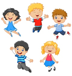 children jumping together vector image vector image
