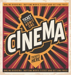 Cinema vintage poster design vector image