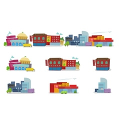 City cartoon architecture of buildings houses vector