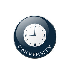 clock icon on round dark blue button collection vector image
