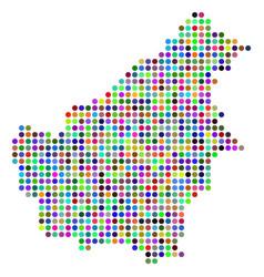 Colored dot borneo island map vector