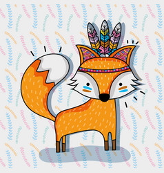 Cute fox animal tribal and feathers vector