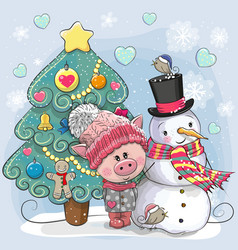 cute pig in a knitted cap and snowman vector image