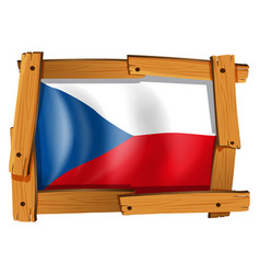 Czech republic flag in wooden frame vector