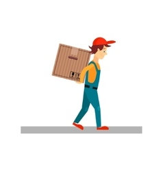 Delivery Man with a Box Behind Back vector image