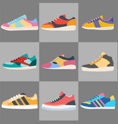 different types of modern sneakers for everyday vector image