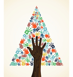 Diversity Christmas pine Tree hands vector image