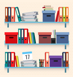 Documents and folders on shelves set vector