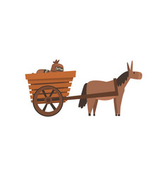Donkey pulling wooden cart with coffee bags vector