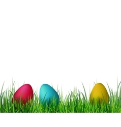 Easter eggs on grass vector