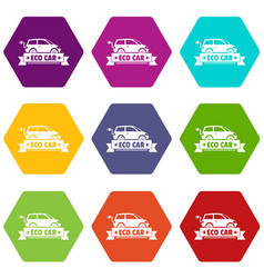 eco car icons set 9 vector image