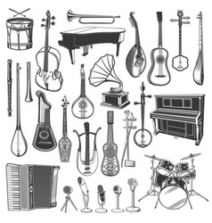 Ethnic music instrument and microphone sketches vector